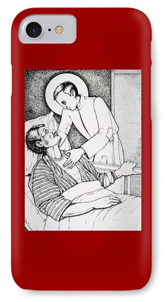 IPhone Case featuring the drawing St Aloysius Gonzaga- Patron Of People With Hiv-aids And Caregivers 1987 by William Hart McNichols