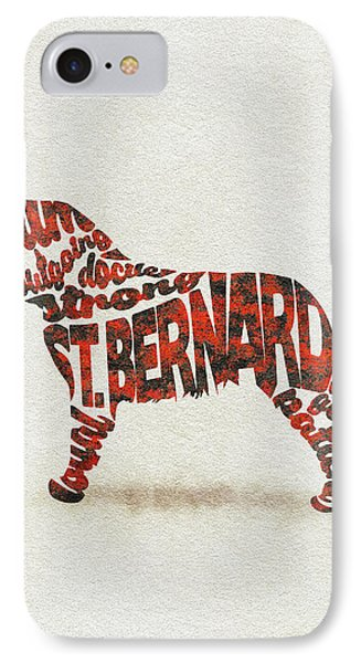 IPhone Case featuring the painting St. Bernard Dog Watercolor Painting / Typographic Art by Ayse and Deniz