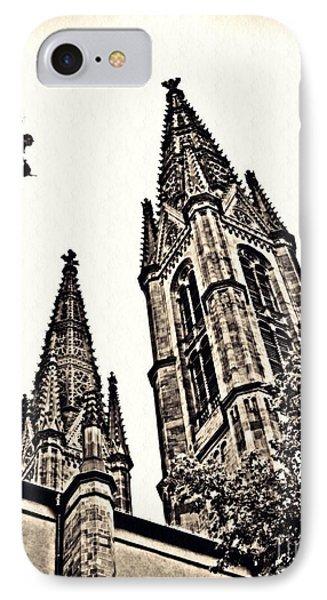 St Boniface Church Towers Sepia IPhone Case by Sarah Loft