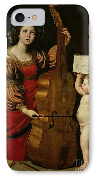 St. Cecilia With An Angel Holding A Musical Score IPhone Case by Domenichino