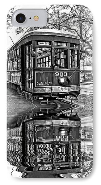 St. Charles Streetcar 2 - Reflection Bw IPhone Case by Steve Harrington