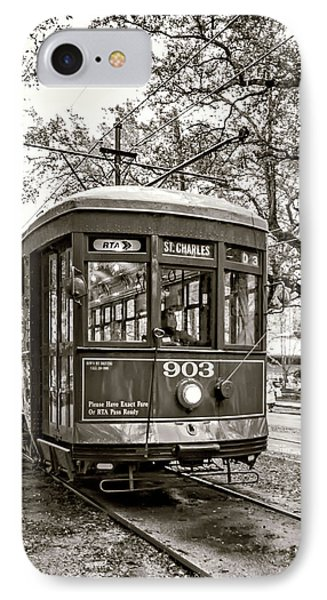 St. Charles Streetcar 2 Sepia IPhone Case
