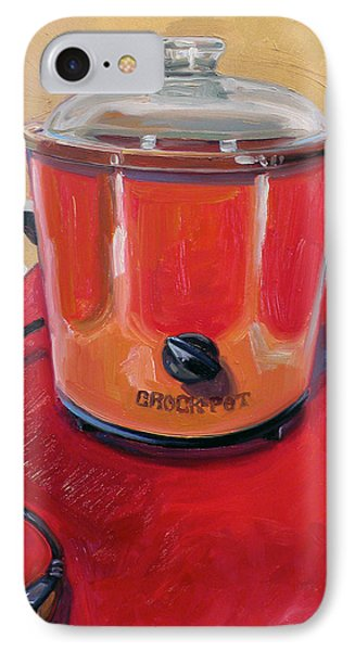 St. Crock Pot In Orange IPhone Case by Jennie Traill Schaeffer
