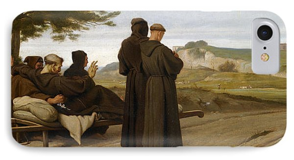 St Francis Of Assisi While Being Carried To His Final Resting Place At Saint-marie-des-anges Blesses IPhone Case by Francois-Leon Benouville