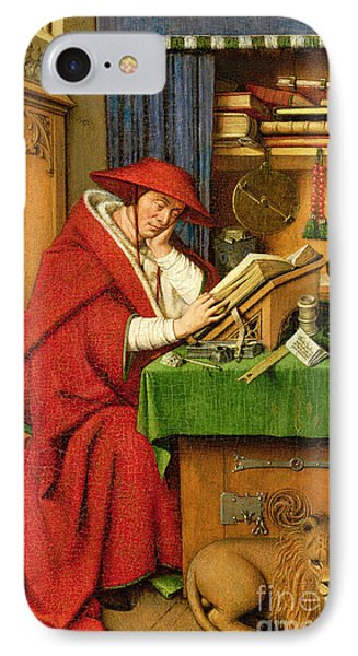 St. Jerome In His Study  IPhone Case by Jan van Eyck