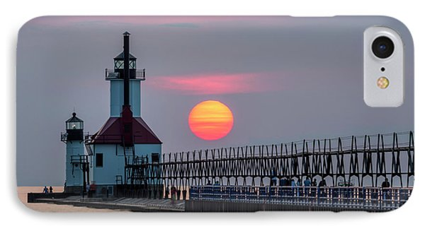 IPhone Case featuring the photograph St. Joseph Lighthouse At Sunset by Adam Romanowicz