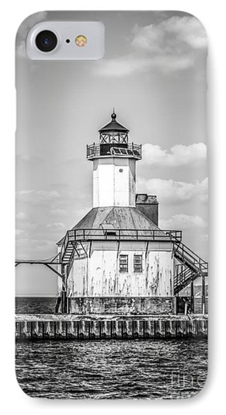 St. Joseph Michigan Lighthouse In Black And White IPhone Case