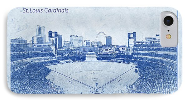 IPhone Case featuring the photograph St. Louis Cardinals Busch Stadium Blueprint Names by David Haskett