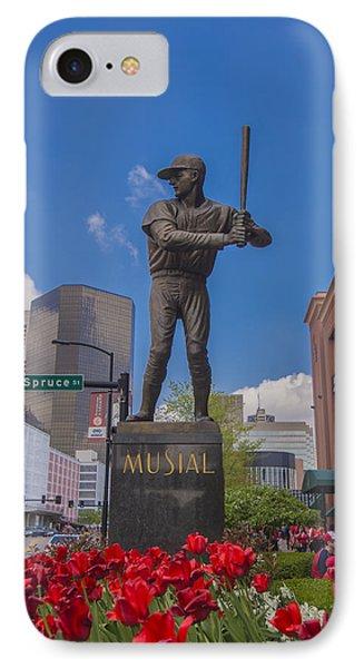 St. Louis Cardinals Busch Stadium Stan Musial Roses Phone Case by David Haskett