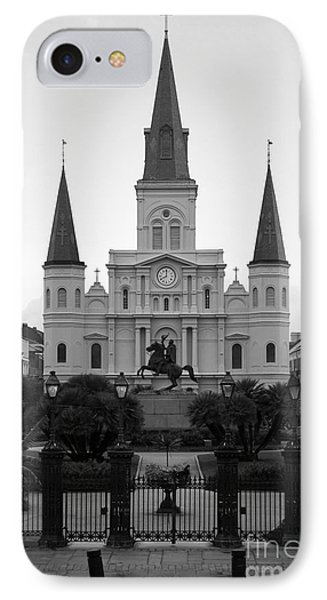 St Louis Cathedral On Jackson Square In The French Quarter New Orleans Black And White IPhone Case by Shawn O'Brien