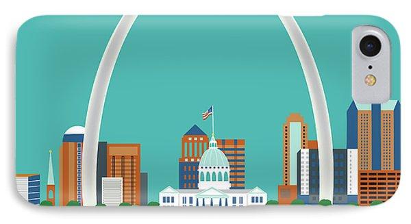 St. Louis Missouri Horizontal Skyline IPhone Case by Karen Young