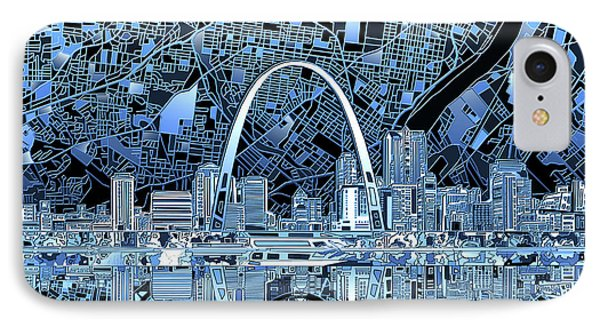 St Louis Skyline Abstract 5 IPhone Case by Bekim Art
