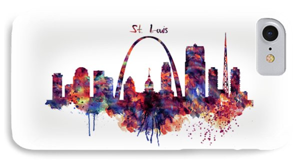 IPhone Case featuring the digital art St Louis Skyline by Marian Voicu