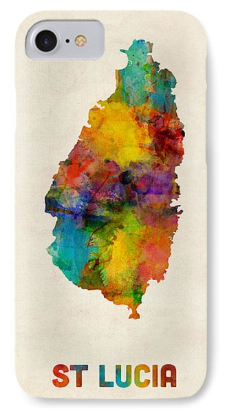 St Lucia Watercolor Map IPhone Case by Michael Tompsett