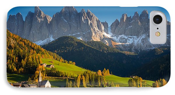 St. Magdalena Alpine Village In Autumn IPhone Case by IPics Photography