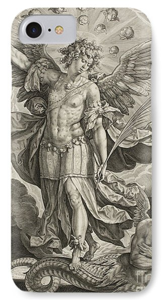 St Michael Triumphing Over The Dragon IPhone Case by Hieronymus or Jerome Wierix