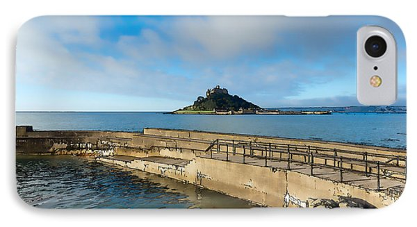 St Michaels Mount With Harbour Wall Cornwall England Uk Medieval Castle And Church On An Island IPhone Case