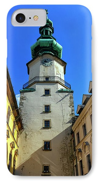 St Michael's Tower In The Old City, Bratislava, Slovakia, Europe IPhone Case by Elenarts - Elena Duvernay photo
