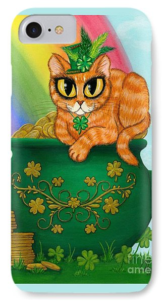 IPhone Case featuring the painting St. Paddy's Day Cat - Orange Tabby by Carrie Hawks