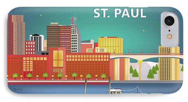 St. Paul Minnesota Horizontal Skyline IPhone Case by Karen Young