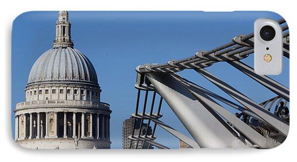 St Pauls Cathedral And The Millenium Bridge  Phone Case by David Pyatt