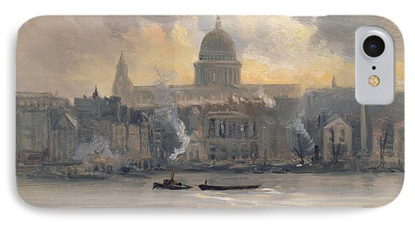 St Paul's From The River IPhone Case by George Hyde Pownall