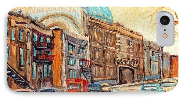 St Urbain Street Scene Baron Byng High School Painting Montreal Memories Carole Spandau              IPhone Case by Carole Spandau