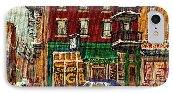 St Viateur Bagel And Mehadrins Deli IPhone Case by Carole Spandau