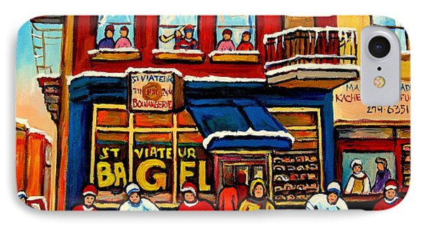 St. Viateur Bagel Hockey Practice IPhone Case by Carole Spandau