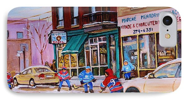 St. Viateur Bagel With Boys Playing Hockey IPhone Case by Carole Spandau