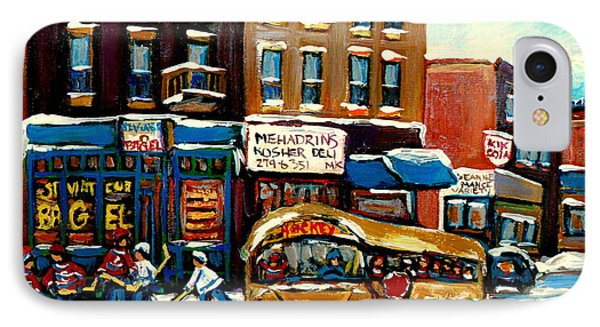 St. Viateur Bagel With Hockey Bus  IPhone Case by Carole Spandau