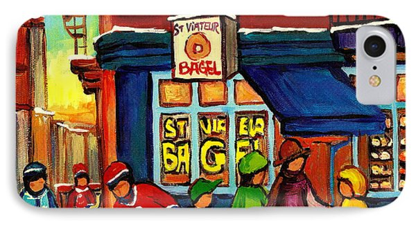 St. Viateur Bagel With Hockey IPhone Case by Carole Spandau