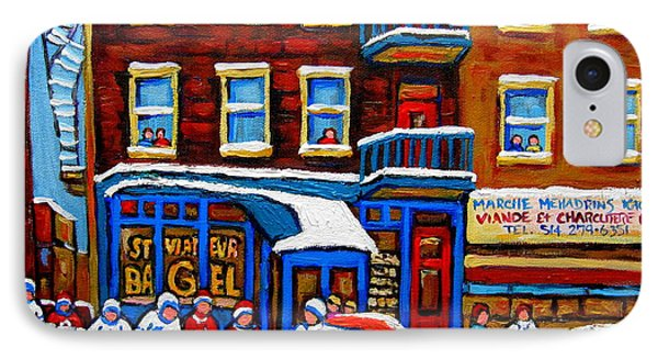 St Viateur Bagel With Hockey Montreal Winter Street Scene IPhone Case by Carole Spandau