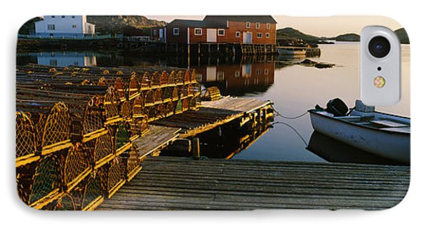 Stack Of Lobster Traps At A Dock IPhone Case by Panoramic Images