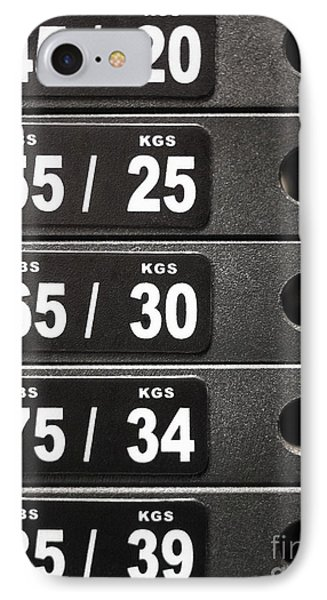 Stack Of Weight Plates  On Gym Equipment IPhone Case by Paul Velgos