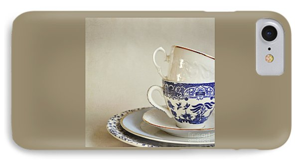 Stacked Blue And White China Cups And Saucers. IPhone Case by Lyn Randle