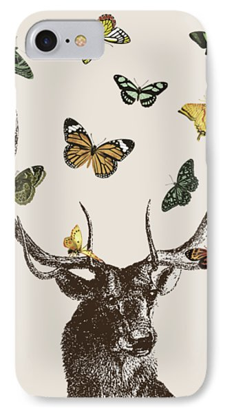 Stag And Butterflies IPhone Case by Eclectic at HeART