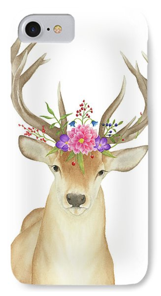 IPhone Case featuring the painting Stag Watercolor  by Taylan Apukovska