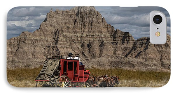 Stage Coach In The Badlands IPhone Case by Randall Nyhof