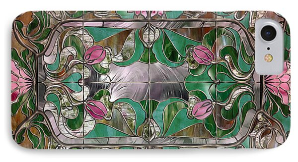 Stained Glass Art Nouveau Window IPhone Case by Mindy Sommers