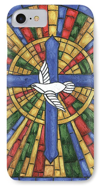 Dove iPhone 7 Case - Stained Glass Cross by Debbie DeWitt