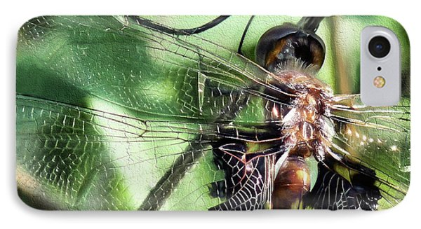 IPhone 7 Case featuring the digital art Stained Glass Dragonfly by JC Findley