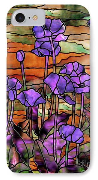 Stained Glass Poppies IPhone Case by Mindy Sommers