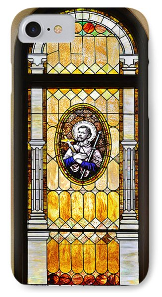 IPhone Case featuring the photograph Stained Glass Window Father Antonio Ubach by Christine Till