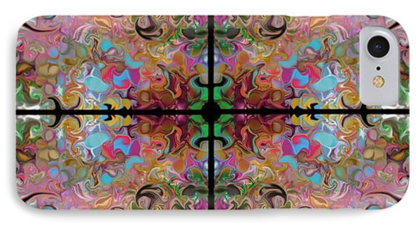 IPhone Case featuring the digital art Stained Glass Window by Loxi Sibley