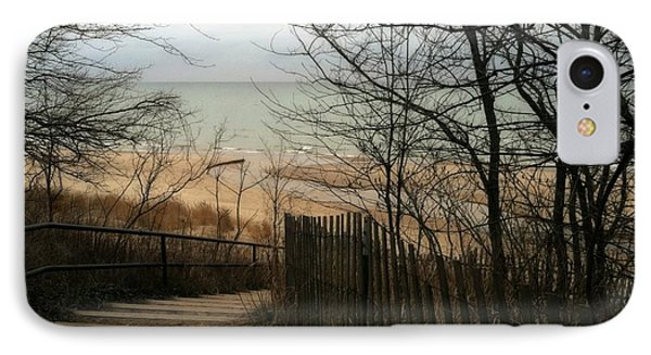 IPhone Case featuring the photograph Stairs To The Beach In Winter by Michelle Calkins