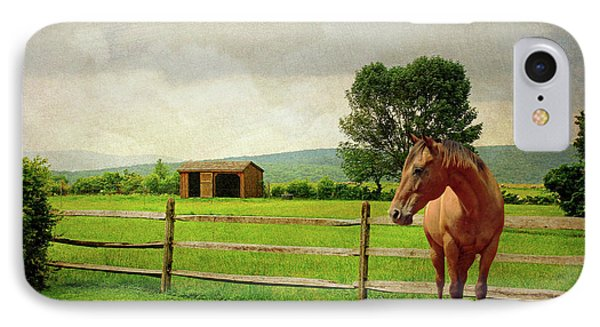 IPhone Case featuring the photograph Stallion At Fence by Diana Angstadt