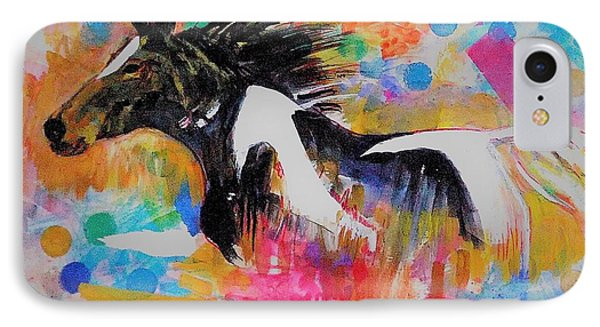 Stallion In Abstract IPhone Case by Khalid Saeed