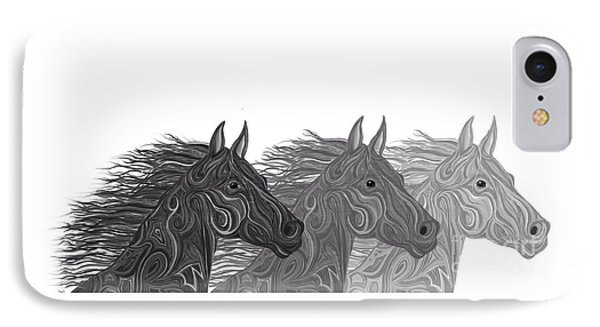 IPhone Case featuring the drawing Stallions Shades by Nick Gustafson