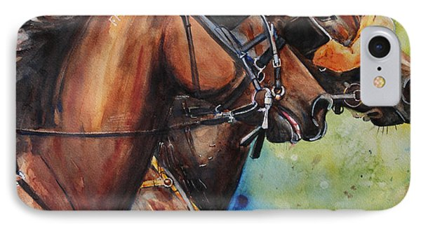Standardbred Trotter Pacer Painting Phone Case by Maria's Watercolor